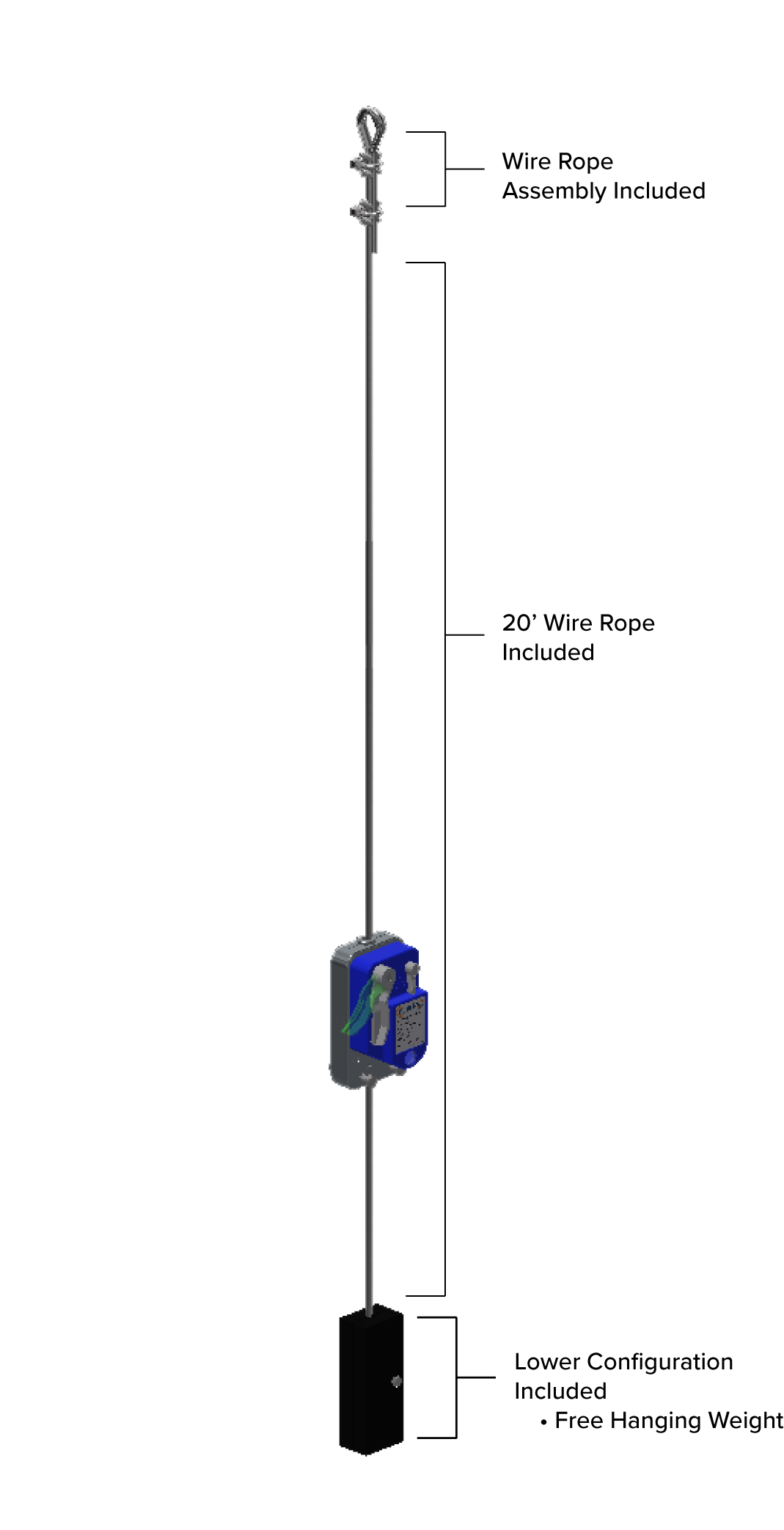 Hoist Zone Secondary Brake Device Free Hanging Weight