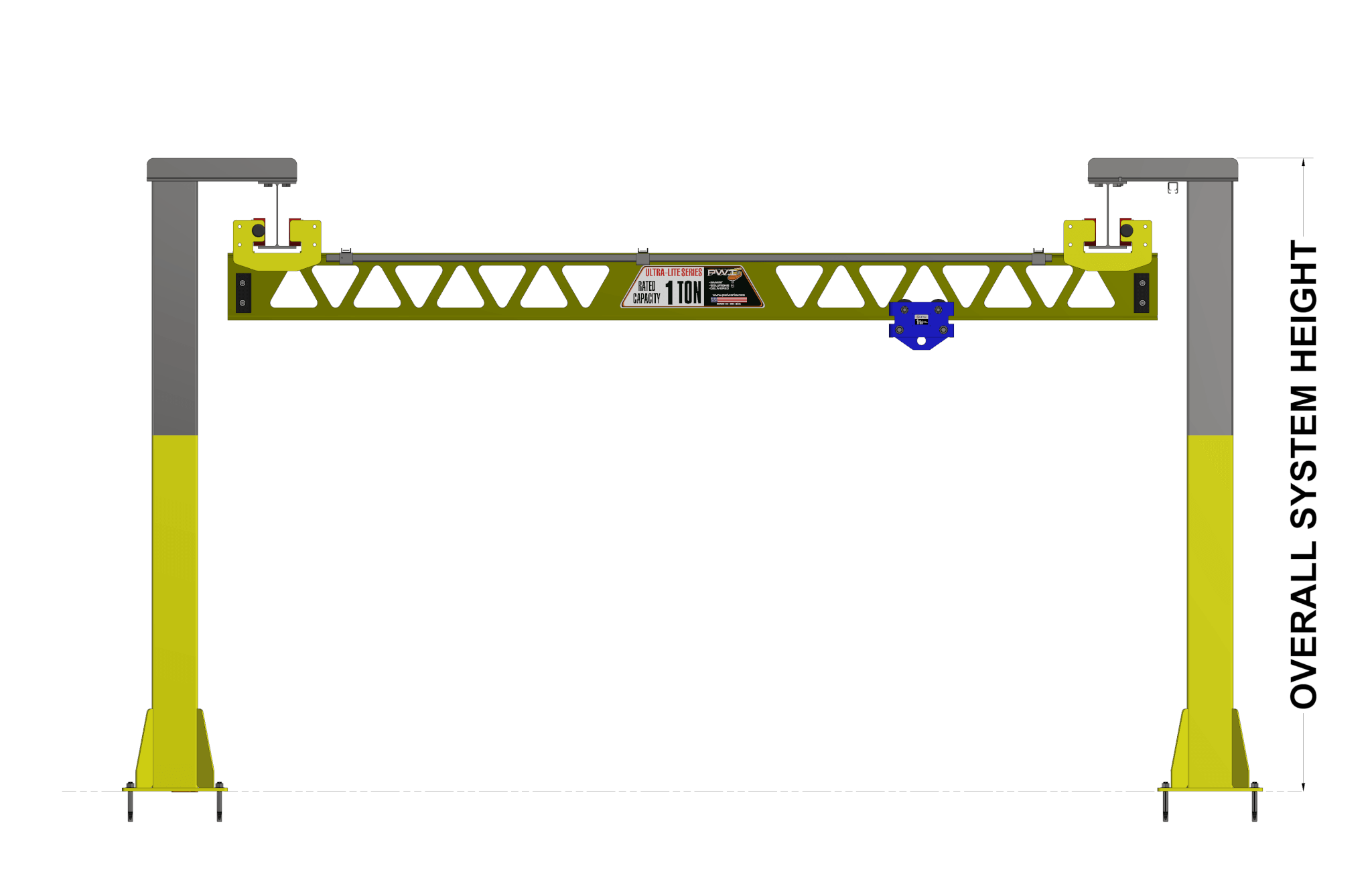 pwi ultra-lite freestanding bridge crane overall system height